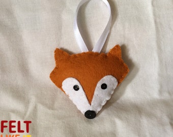 Felt fox head decoration, christmas, cute fox, handmade plush