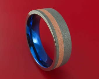 Titanium Anodized Ring with Copper Inlay Wedding Band Any Size Sandblast Finish