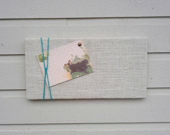 Bulletin Board made from White Burlap accented with Turquoise twine for a Nautical styled decor - great in a cabin or cottage, beach decor