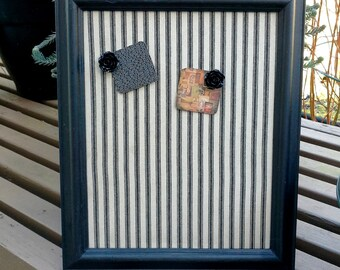 Magnet board -  black and tan linen ticking in a vintage painted wood frame, made with sheet metal, easel back, French chic memo board