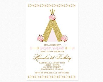Teepee Birthday Party Invitation, Pink and Gold Teepee, Pow Wow Invitation, Tribal, Boho, Personalized, Printable or Printed
