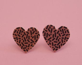 CLEARANCE Heart Earrings // Confetti Print Earrings // Memphis Modern Earrings // Graphic Earrings // Geometric Earrings