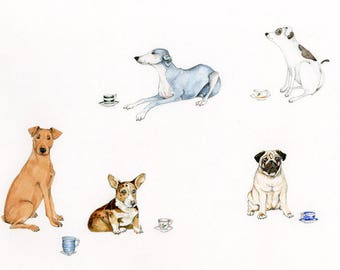 "Dogs with teacups Original Watercolour on watercolour paper. Size (approx) 12""x15"""