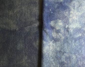 Vintage Fruitlands Blue - hand dyed rug hooking wool fabric -  1/4 yard dyed on Oatmeal or Natural Wool