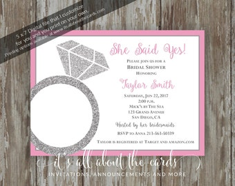 "Bridal/Wedding Shower invitations - Digital file NEW ""She Said Yes - Grey & Pink"" design"