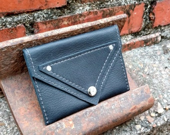 Simple Wallet in Black with Stitched and Riveted Detail