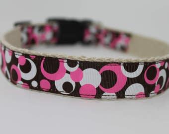 Pink and Brown Circles hemp dog collar or leash