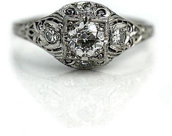 Art Deco Engagement Ring 1930's .64ctw GIA Engagement Ring Antique Diamond Ring Vintage Old European Cut Diamond Engagement Ring in Platinum