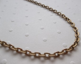 Antiqued Gold Chain - 3mm Flat Links - Small Oval Links - 100 inch (254 cm) strand
