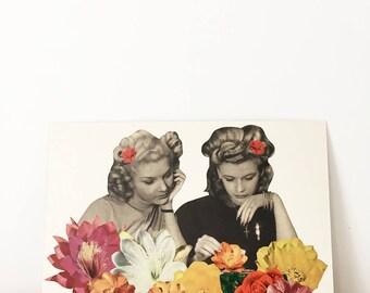 Original Artwork, Unique Vintage Floral Collage, One of a Kind - Flower Collectors