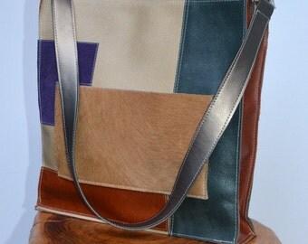 NEW color block all-leather shoulder bag