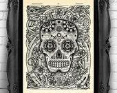 Day of the Dead Art Print, Sugar Skull Art, Mexican Skull Poster, Gothic Skull Artwork, Anatomy Wall Decor, Wall Decal, Tattoo Art Decor 015