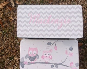Owls, Step Stools, Kids Furniture, Childs Stools, Bathroom Stool, Pink and Grey, Personalized, Chevrons, Custom Girls Step stool
