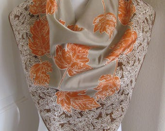 """Lovely Brown Orange Soft Acetate Scarf // 28"""" Inch 66cm Square"""