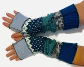 Upcycled Fingerless Gloves  Teal Blue Grey Armwarmers Recycled Wrist warmers Stripe Knit Fingerless Mittens fashion accessories Size S Small