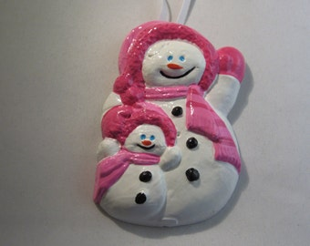 Momma Snowman and Her Baby Plaster Christmas Ornament