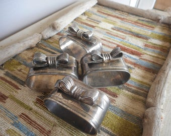 Vintage Sterling Silverplate Napkin holders. oval w bow set of 4