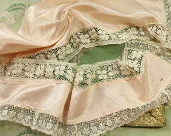 Antique silk satin lace trim pieces blush pink pale shade doll dress trim button accent Edwardian hat dress flapper