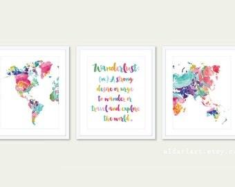 Wanderlust Print World Map Nursery Art Prints - Set of 3 Prints - Modern Nursery Art - 5x7 or 8x10 - Frames not included
