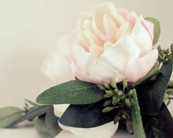 Bridesmaid Bouquet - Peony Pink Real Touch Flowers - Faux Seeded Eucalyptus