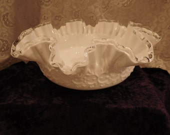 Fenton Silver Crest Milk Glass Bowl Spanish Lace