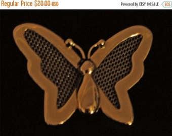 Vintage 50s MINT Heavy Gold Butterfly Figural Brooch
