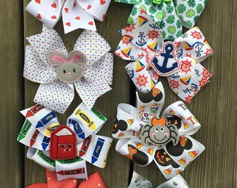 HOLIDAY Bow Set #1 - Large Bows - Boutique Hairbow - Large Hairbow - Little girl bow- Valentines St patrick easter july 4th christmas school