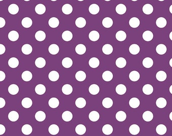Purple and White Medium Polka Dot Cotton For Riley Blake, 1 Yard