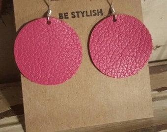 Leather Earrings, Pink, Hot Pink, Statement Earrings, 100% Leather, Circle, Lightweight