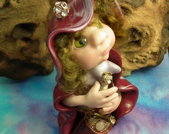 """Forager Gnome 'Millicent' with treasured 'rings-and-things' 5"""" OOAK Sculpt by Sculpture Artist Ann Galvin Art Doll"""