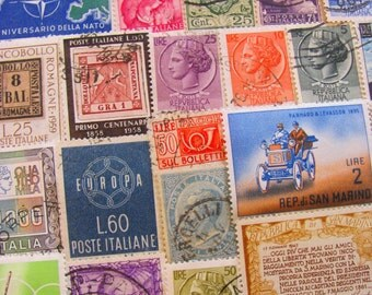 When In Rome 50 Vintage Italian Postage Stamps Poste Italiane Italy Roma Venice Naples Neapolitan San Marino Espresso Worldwide Philately