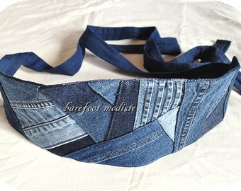Rustic Denim Patchwork Obi Belt, One of a Kind art to wear, Unique Reclaimed Recycled Jeans Belt, Corset tie belt, Barefoot Modiste Handmade