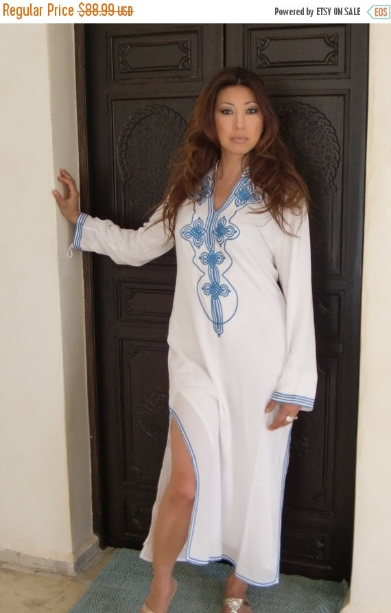 15% OFF WINTER SALE // White Moroccan Caftan Kaftan Dress - Bedouin Style-loungewear ,resortwear,spa robe, for Birthdays or Maternity Gifts,