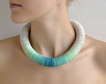 Turquoise: Ombre Necklace of book pages and papers