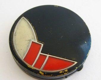 SPRING SALE Vintage 20s Art Deco Tussy Black Red & White Enamel Powder Compact