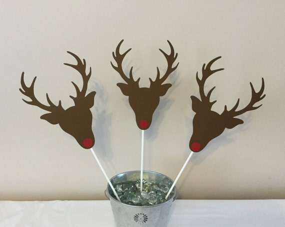 Piece reindeer centerpieces brown red nose by