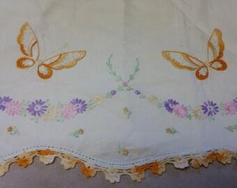 Embroidered Girl's Pillowcase butterflies cotton yellow