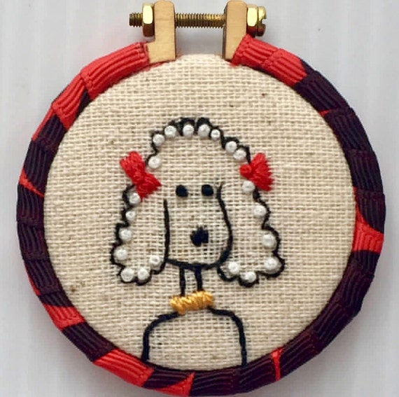 Little Poodle Hand Embroidered Mini Hoop Pendant