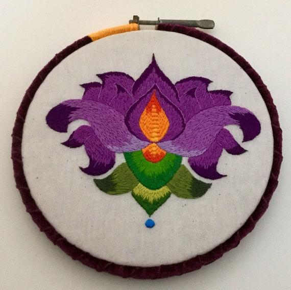 Purple Lotus Hand Embroidered Hoop Art