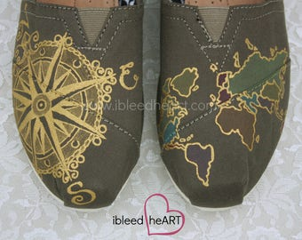 Travel Compass TOMS Shoes & Colored World Map on Olive - Wanderlust Adventure - Custom Painted  - Wearable Art
