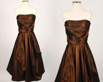1950s BRONZE taffeta strapless dress • vintage party dress with stylized skirt
