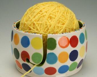 Ceramic Yarn Bowl for Knitting & Crochet, Knit Happy, Fiber Twine Pottery Yarn Bowl, Polka Dots, Interior Lime Green w/ Teal Blue Speckled
