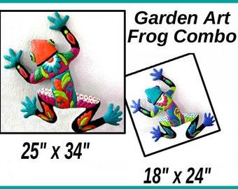 Save on Frog Art Combo, Frog Art Wall Hanging - Painted Metal Art, Metal Wall Art, Outdoor Garden Art - Metal Wall Decor, M702-OR-TQ-Combo2