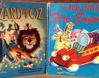 The Wizard of Oz..1951 and The Too Little Fire Engine..1950 2 Vintage Wonder Books Beautifully Illustrated