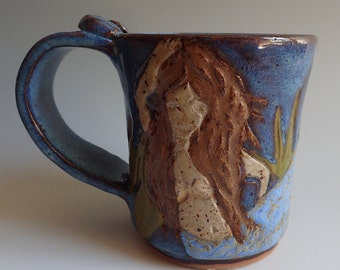 Stoneware Clay Handmade Mug with Handcarved MERMAIDS Design OOAK