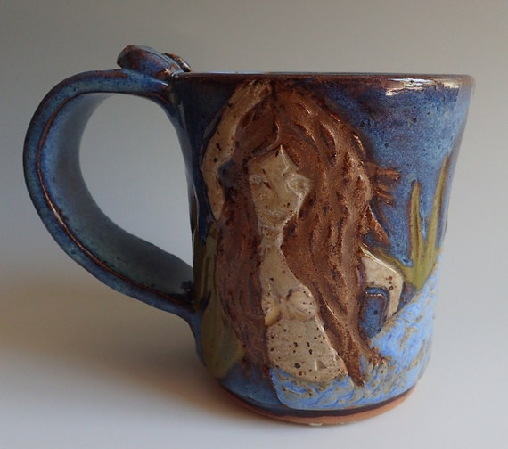 Stoneware clay handmade mug with handcarved mermaids design for Handmade mug designs