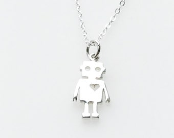Sterling Silver Charm Necklace Robot with Heart Geek Love Valentines Day