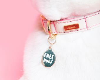 "Gold Pet ID Tag - Dog Name Identification ""Free Hugs"" cat collar ID tag / funny collar charm name tag identification gold and white enamel"