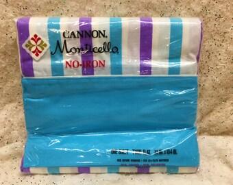 Vintage Mod Sheet Striped Unused Aqua Blue Purple Twin