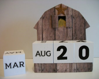 Barn Calendar Perpetual Wood Block Country Farm Brown Barn Decor